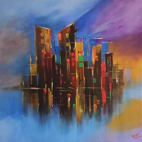 AHSAN KHAN, TITLE- REFLECTIONS, SIZE- 60/60CM, PRICE- 2000 AED
