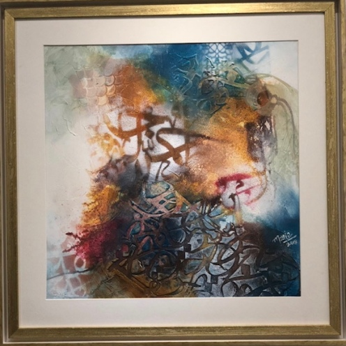 MARIA AAMER, TITLE- DEVINE LETTERS, SIZE- 50/50CM, PRICE- 1000 AED