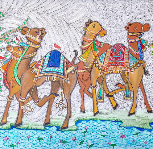 SMITA ALONI, TITLE- HERD OF CAMELS, SIZE- 110/70CM, PRICE- 4000 AED